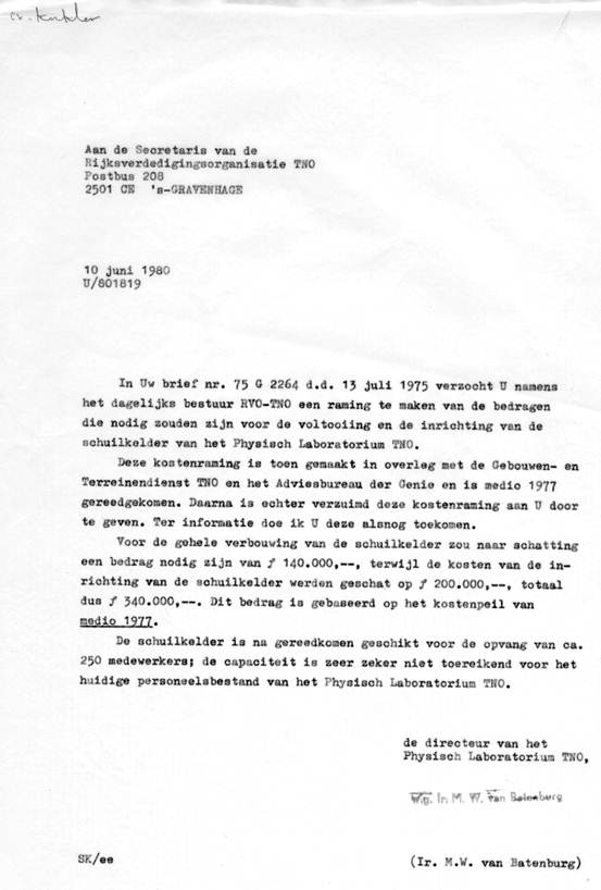 Letter stating the costs of 340.000 Dutch guilders (1977 cost level)