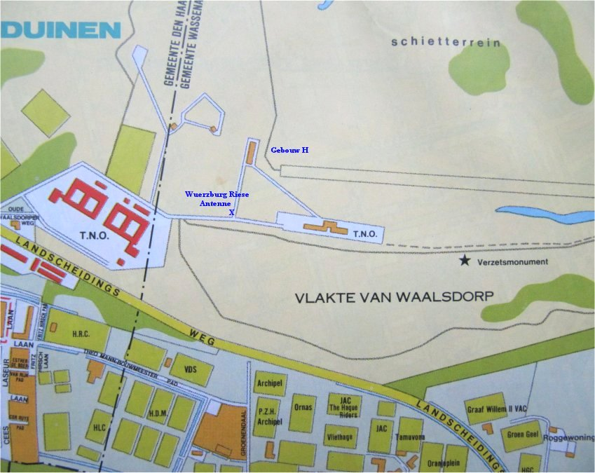 Map showing the Measurement Building and Annex H (right-hand side; Wassenaar), the current TNO building at the left in The Hague and the location of the Würzburg-Riese antenna