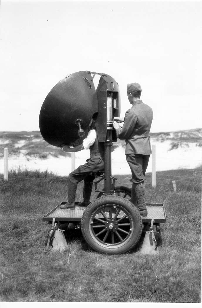 An experimental listening device by van Soest with a cylinder to derive the map angle and elevation data