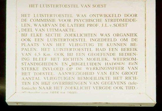 Description of listening device Van Soest at Luchtdoelartilleriemuseum