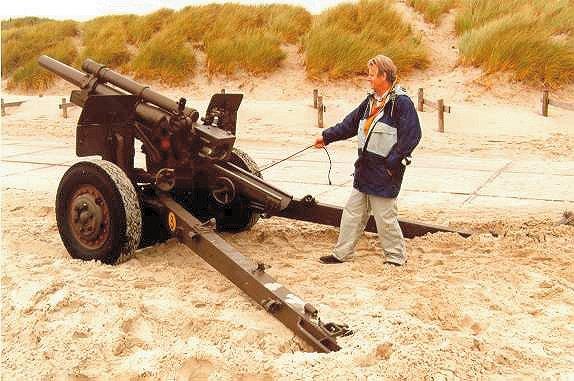 Een 155 mm howitser voor proeven met MUSP