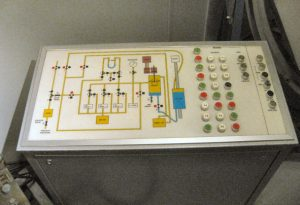 Control panel of the pressure simulator for research on pressure-activated sea mines (1975)