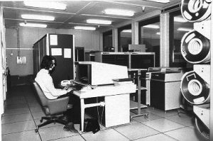 The Control Data CDC 6400 (64 KWords) in the back, console in the front