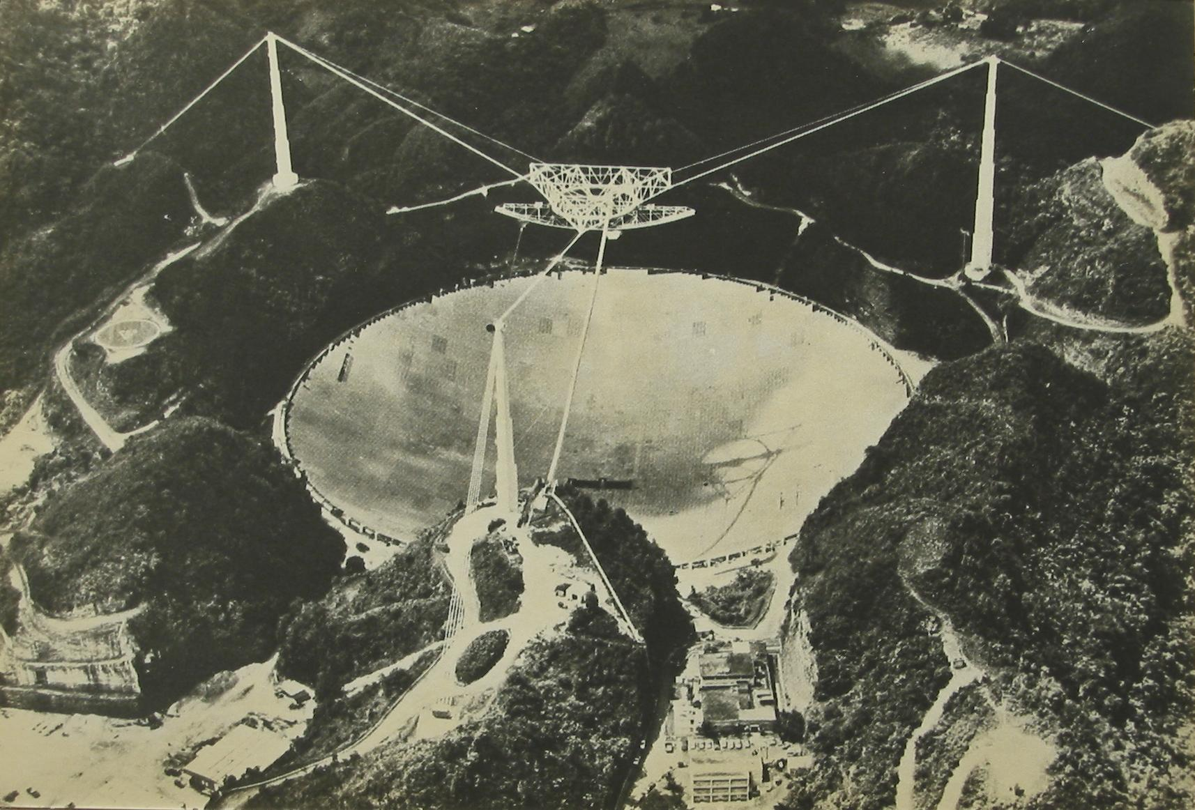 The famous ARECIBO reflector hanging in a dead volcano in Puerto Rico/ KP4BZ radio station