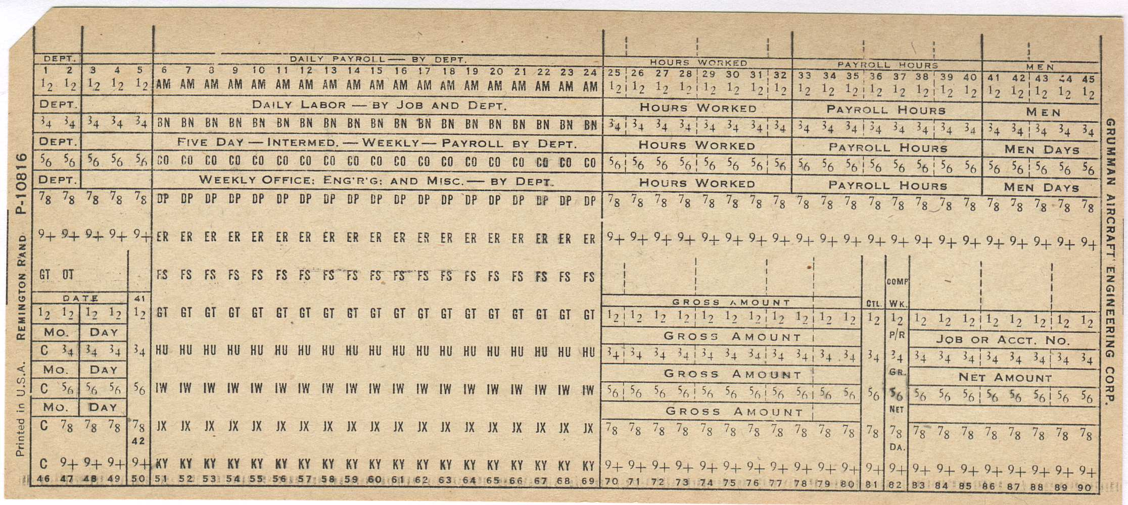 90 column punchcard