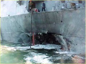 USS Cole after the attack