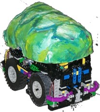 TurboTurtle (1999) with an papier mache 'all-weather turtle-protection-shield