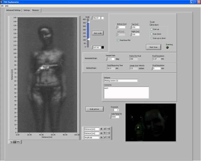 PC interface to set the measurement parameters of the experimental body scanner