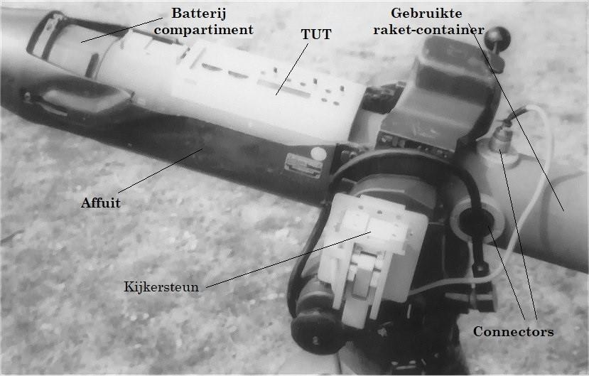 Raketlanceerbuis met TUT geplaatst op een affuit
