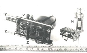 Z(transmitter), V(vibrator-transformer), W(rotating coding switch)