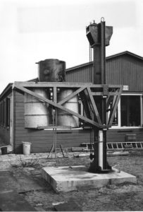 The underwater pole, lift and rotator under construction; two ballast tanks