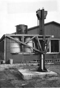 De onderwaterlift in aanbouw