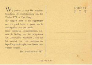 Bedankkaart voor ontvangstrapportage zender Herrijzend Nederland