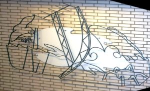 Thread sculpture, design G. Mooij (1968), lost in a corridor of the building