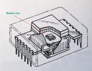 Bubble geheugenchip met besturingselektronica