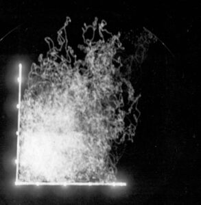 Troposcatter measurements 30/12/1958 11:00-11:45. Vertical 146 Mc/s, horizontal 144 Mc/s; 2uV scale