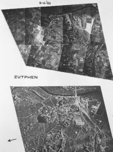 Q-band radar image of Zutphen (16 March 1964) compared with an aerial photo taken on June 5, 1952